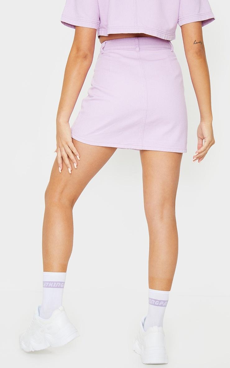 Lilac Button Up Pocket Detail Denim Mini Skirt 3