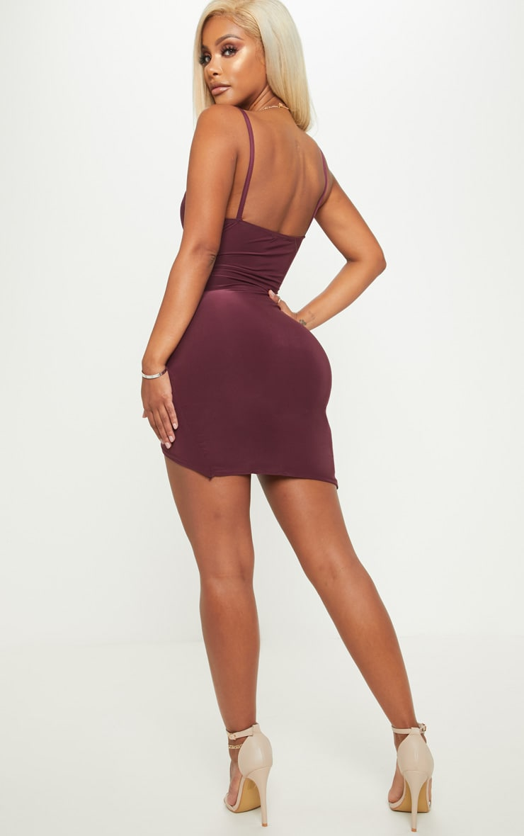 Shape Burgundy Ruched Side Strappy Bodycon Dress 2