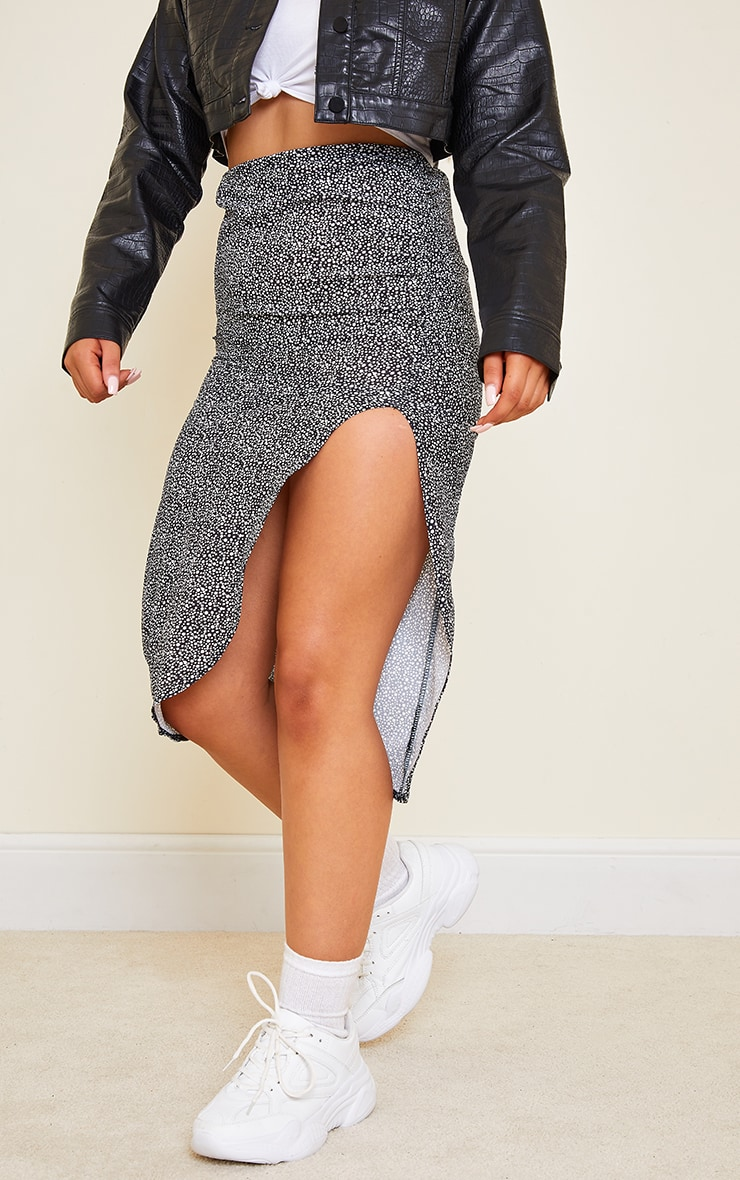 Black Dalmatian Woven Ruched Midi Skirt 2