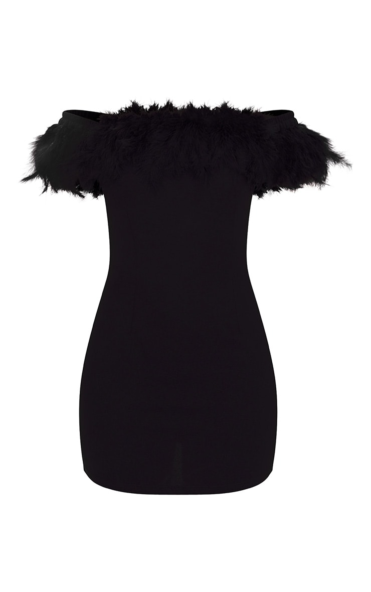 Black Feather Bardot Bodycon Dress 3