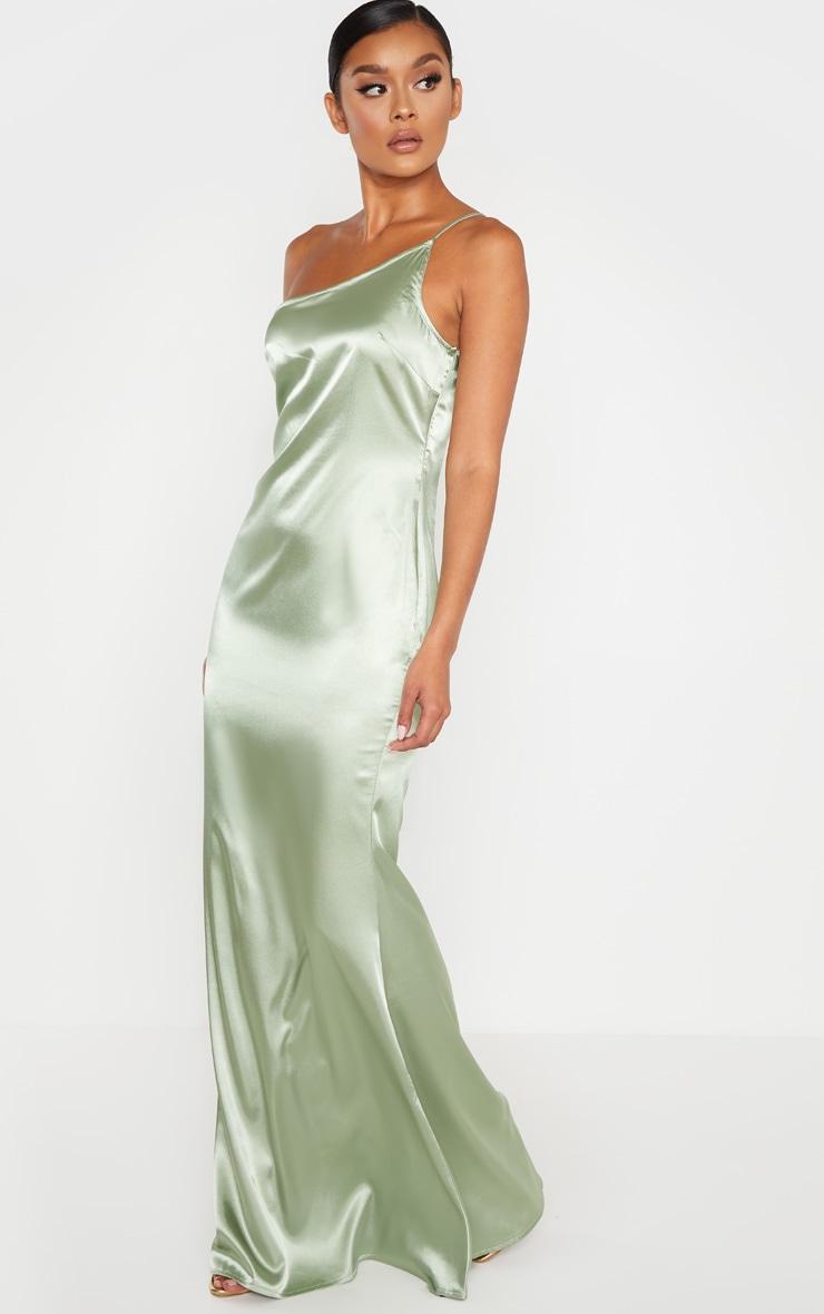 Sage Green Satin One Shoulder Maxi Dress 4