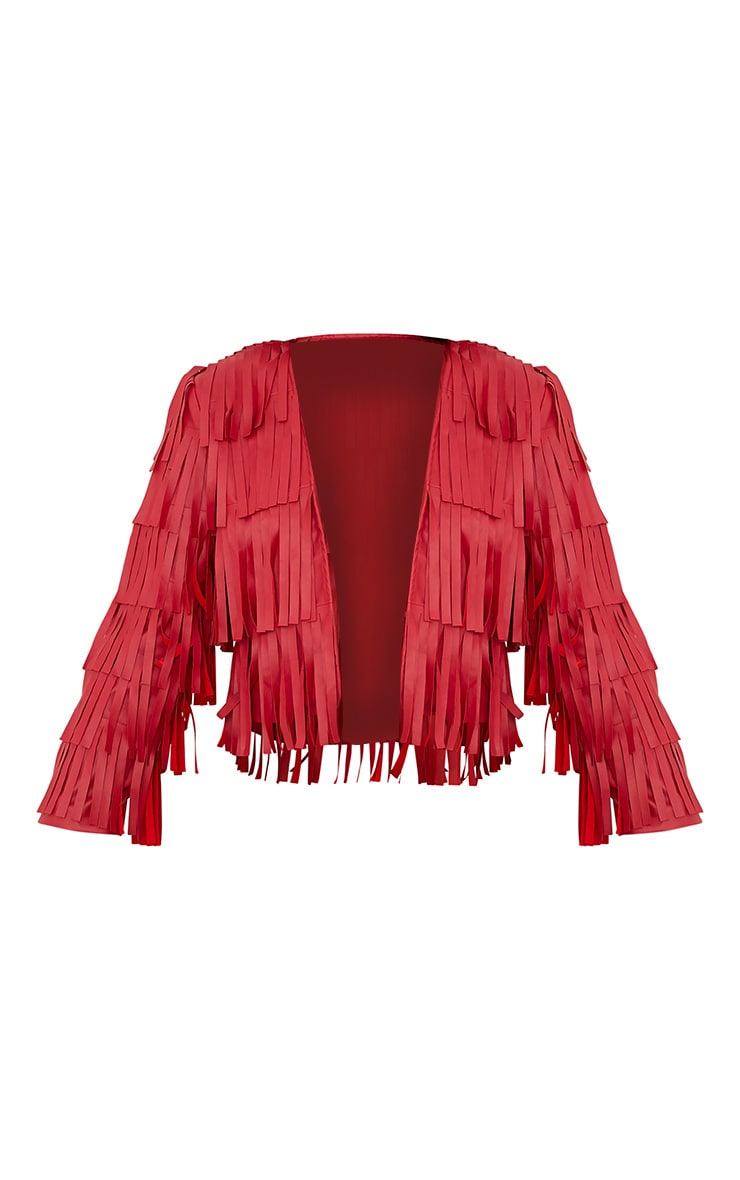 Lucy Red Faux Leather Fringed Crop Jacket 4
