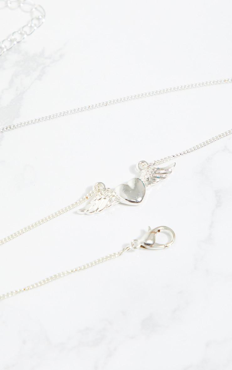 Silver Mini Heart Wings Necklace 4