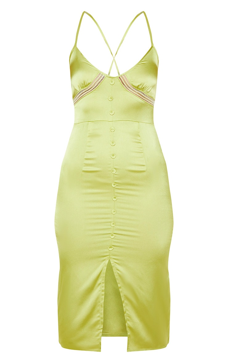 Lime Button Front Satin Strappy Midi Dress 3
