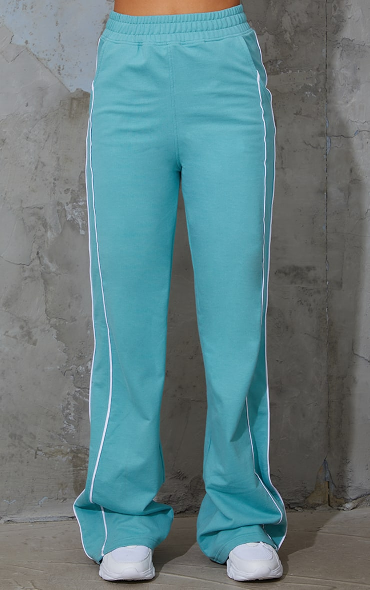 Washed Green Piping Detail Wide Leg Joggers 2