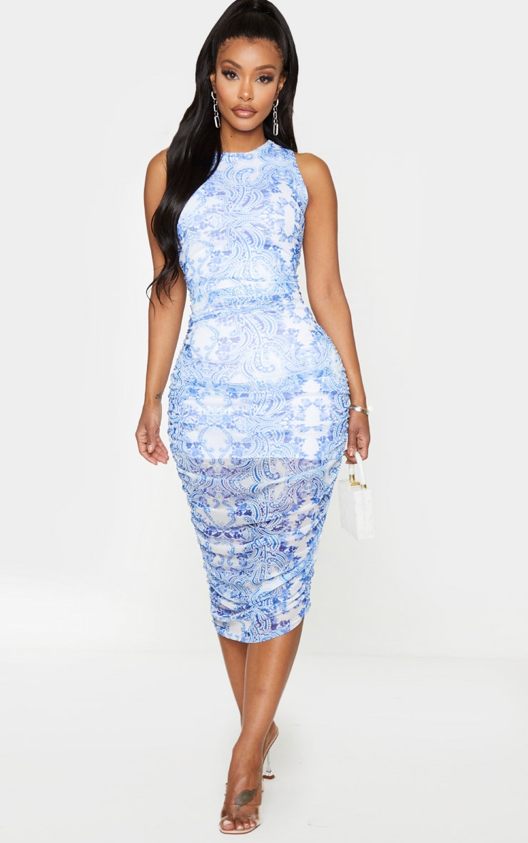 Shape Blue Porcelain Print Sleeveless Midi Dress 1