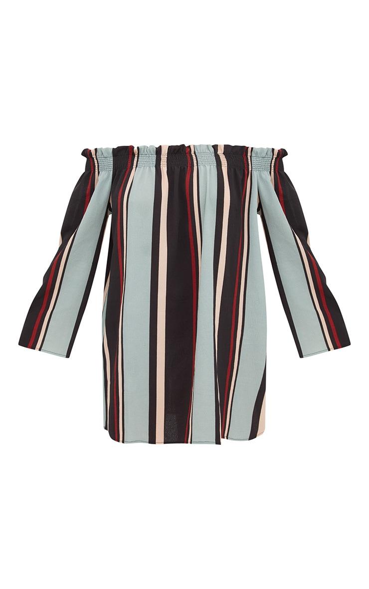 Stripe Long Sleeve Bardot Shift Dress 3