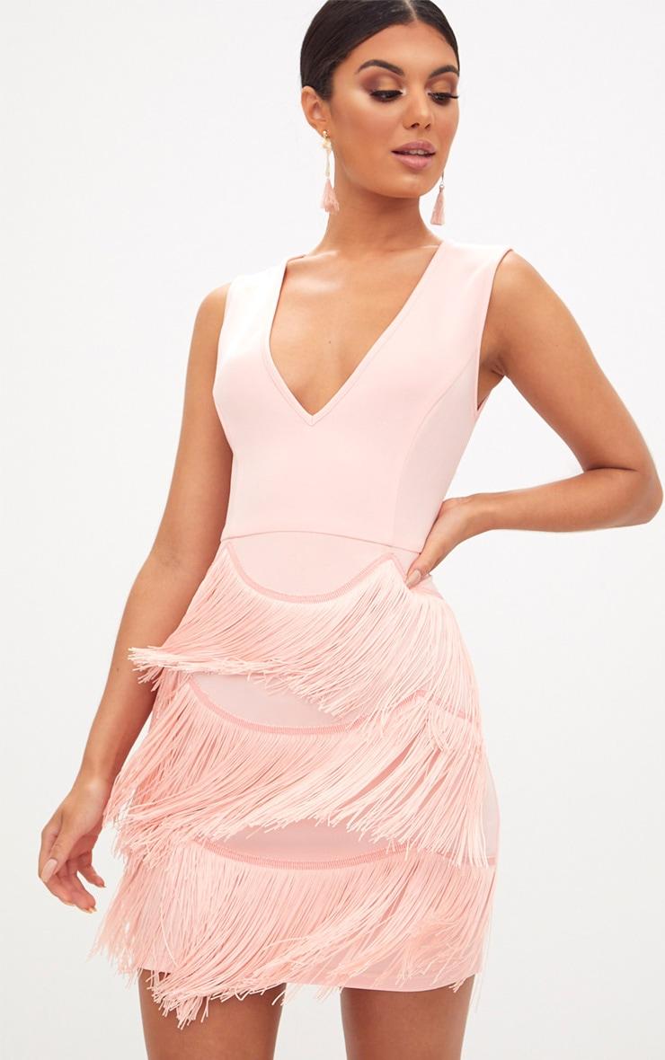 Nude Plunge Tassel Skirt Bodycon Dress  1
