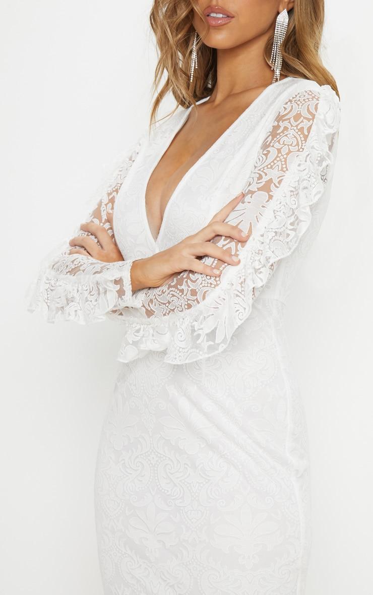 White Lace Plunge Frill Sleeve Midi Dress 5