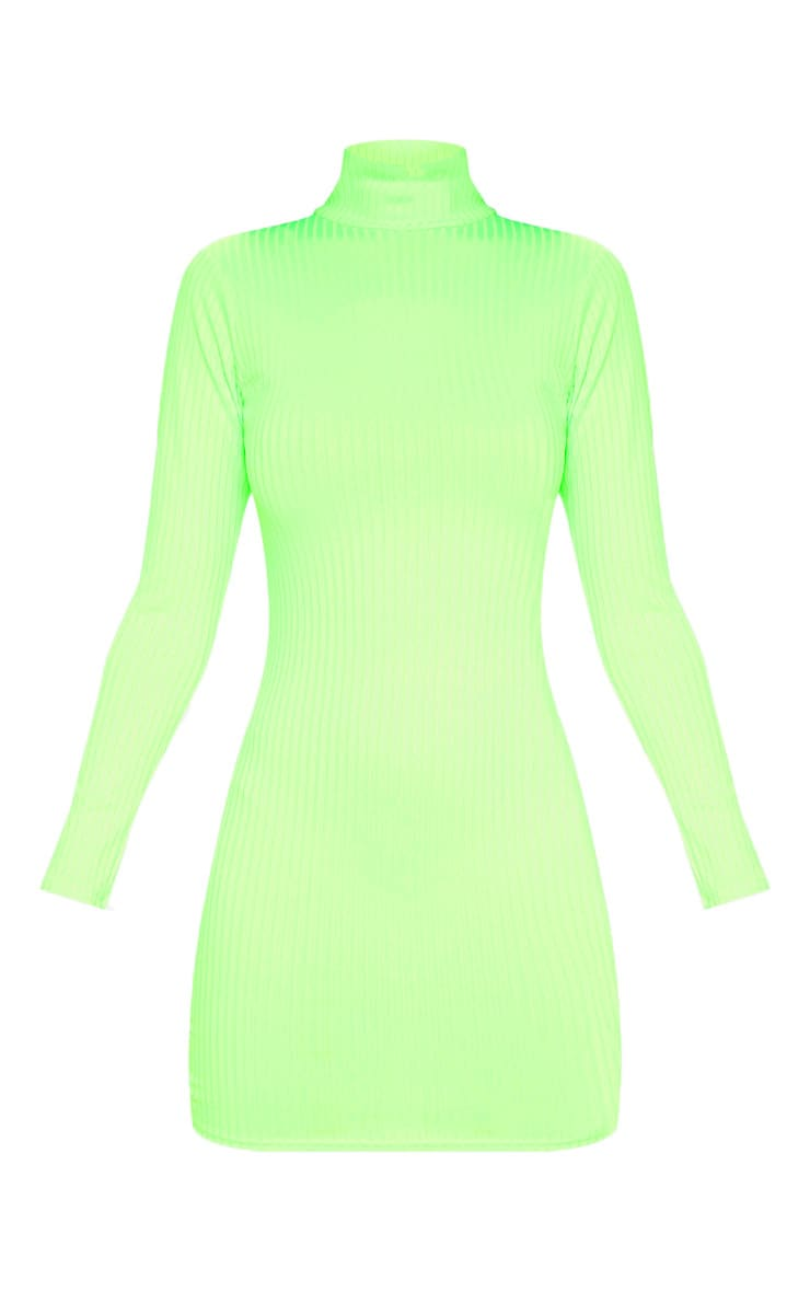 Neon Lime Ribbed Long Sleeve High Neck Bodycon Dress 3