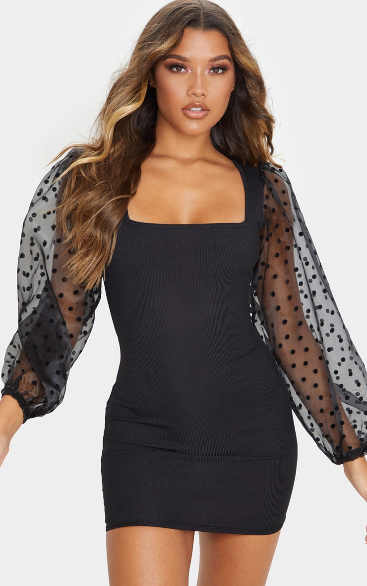 Black Polka Dot Organza Long Sleeve Square Neck Rib Bodycon Dress 1