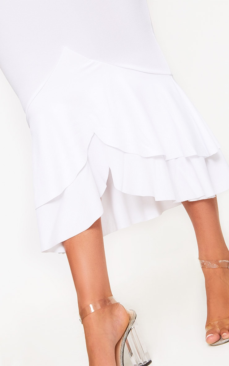 White Strappy Fishtail Midi Dress 4
