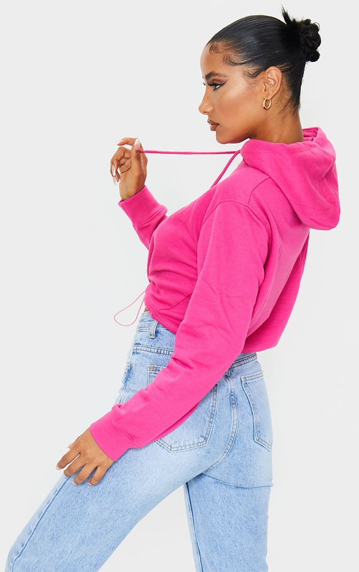 PRETTYLITTLETHING Hot Pink Pocket Toggle Crop Hoodie 2