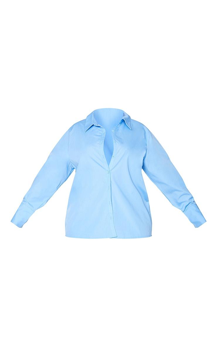Plus Cornflower Blue Oversized Cuff Shirt 5