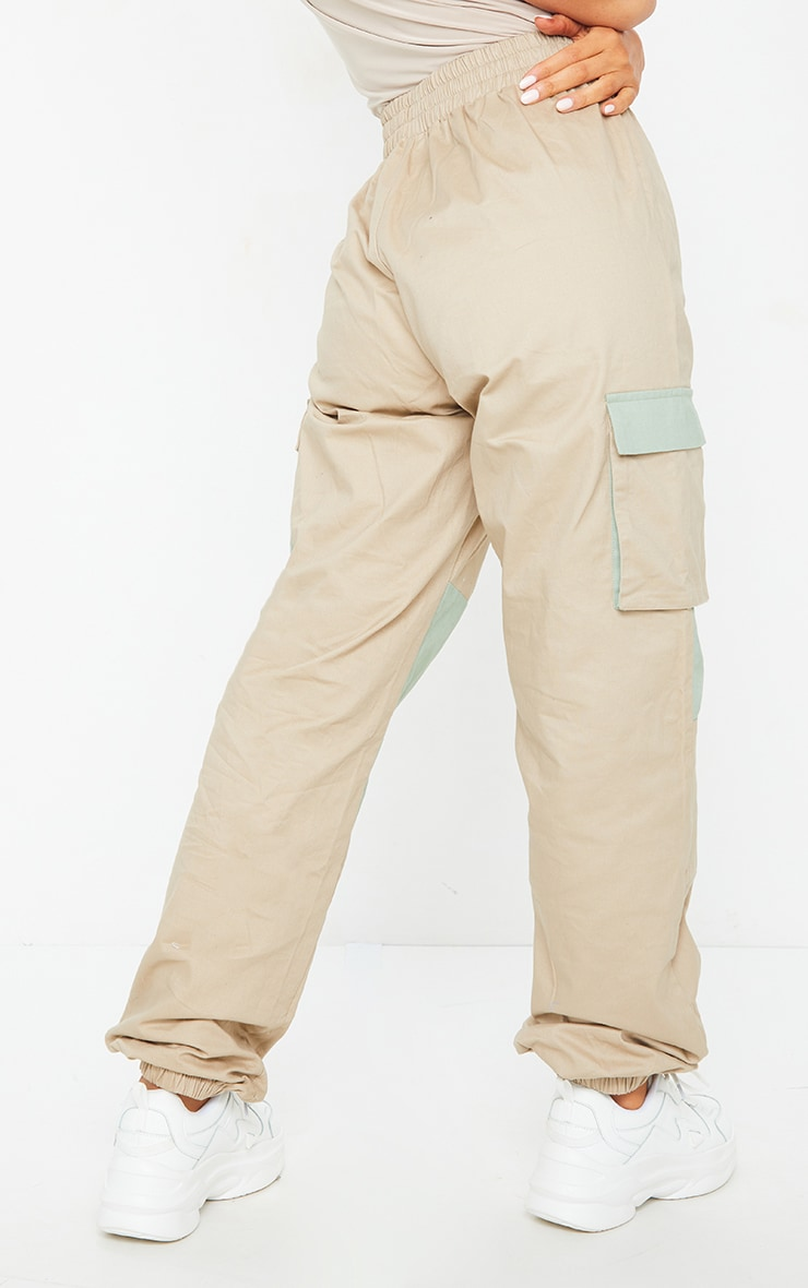 Stone Contrast Pocket Cargo Trousers 3
