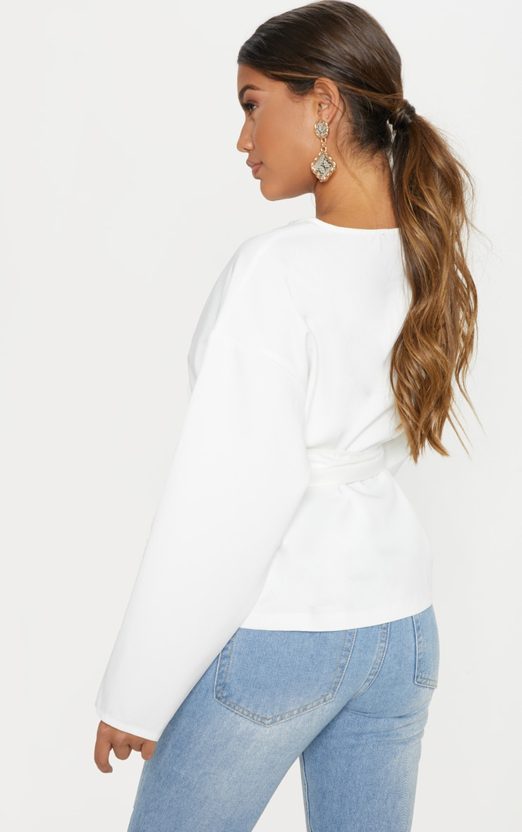 White Belt Detail Oversized Top 2