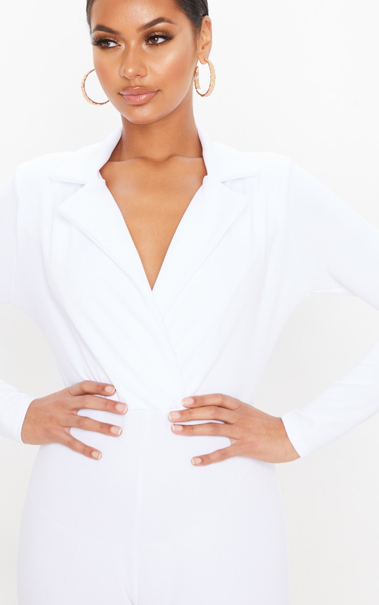 White Lapel Detail Tailored Jumpsuit 5