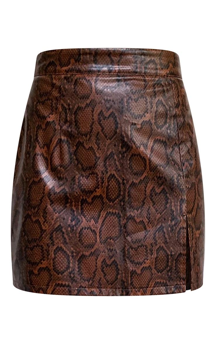 Brown Snake Faux Leather Split Front Mini Skirt 6