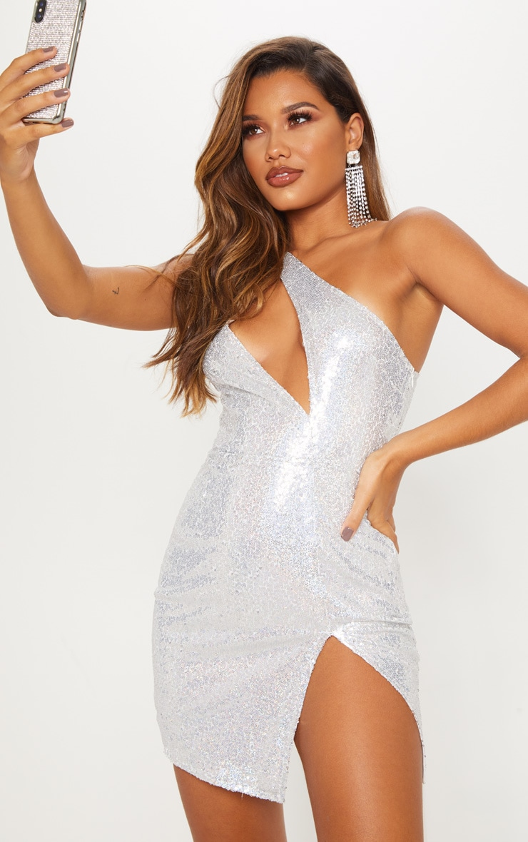 Silver Sequin One Shoulder Cut Out Bodycon Dress 3