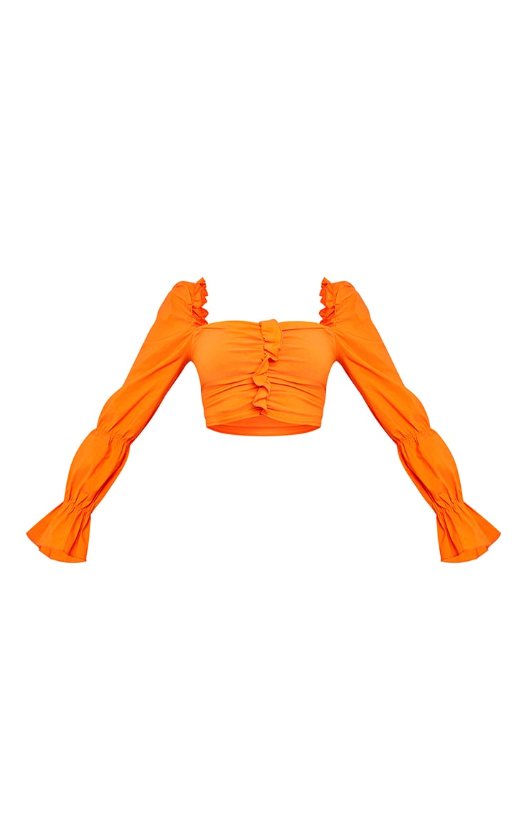 Orange Woven Stretch Frill Ruched Front Long Sleeve Crop Top 5