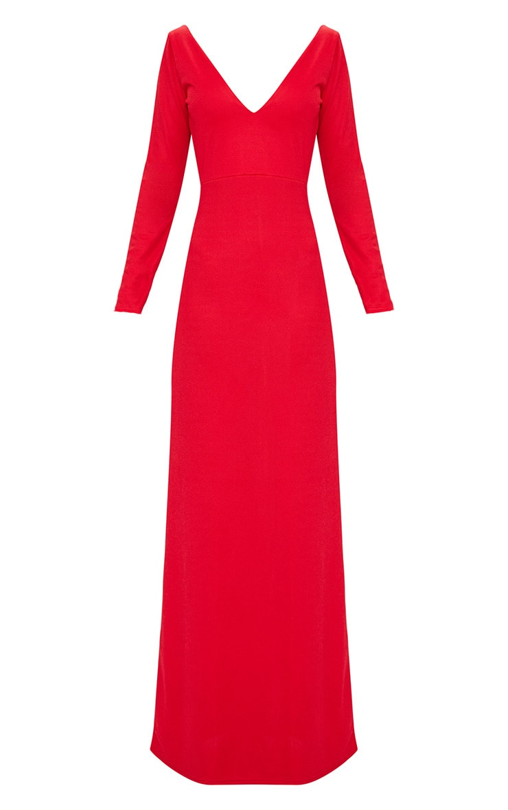 Red Backless Plunge Long Sleeve Maxi Dress  3