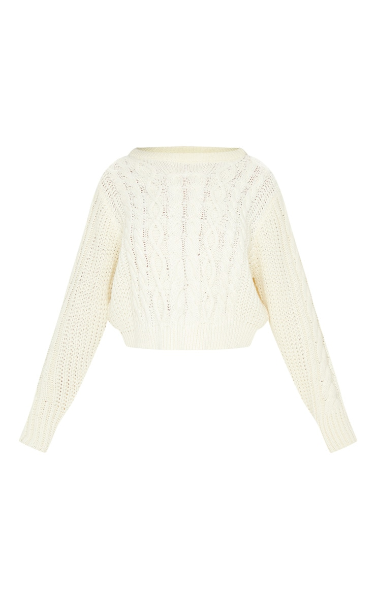 Cream Cable Knit Cropped Jumper 3