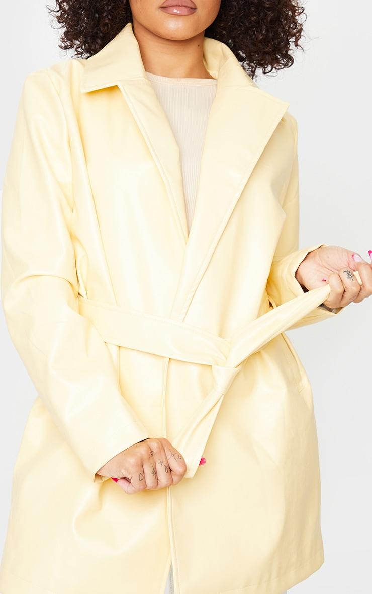 Ecru Faux Leather Long Line Tie Waist Jacket 4