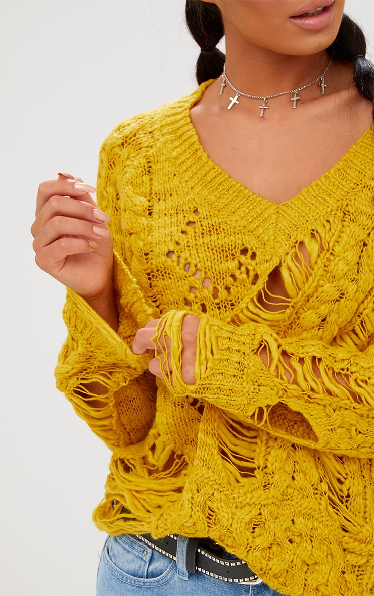 Yellow Super Ladder Distress V Neck Jumper 4