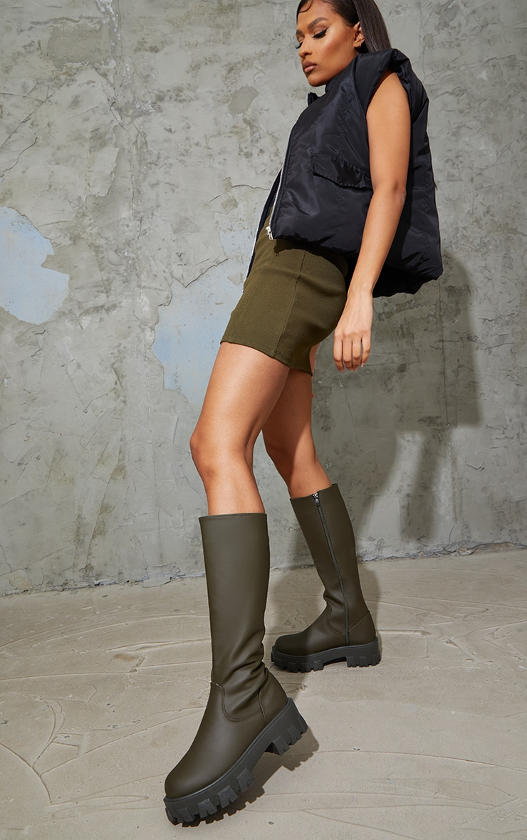 Khaki PU Cleated Sole Chunky Rain Boots 1