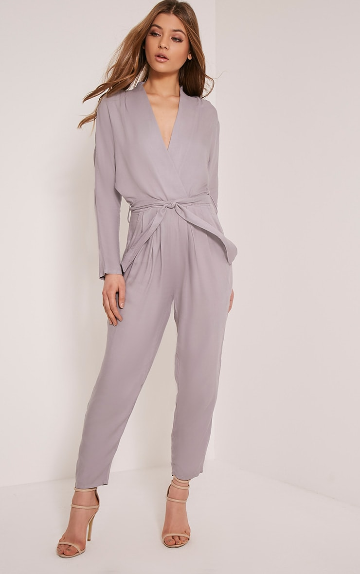 Briana Grey Wrap Jumpsuit 1
