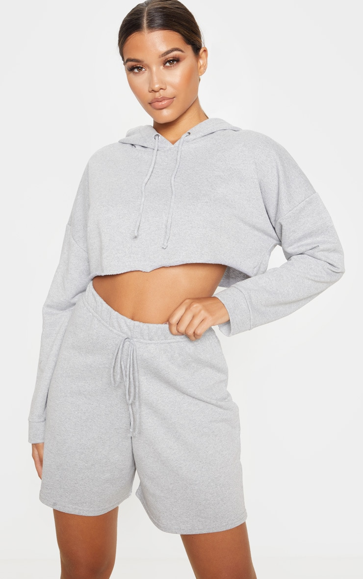 Grey Longline Sweat Shorts 1