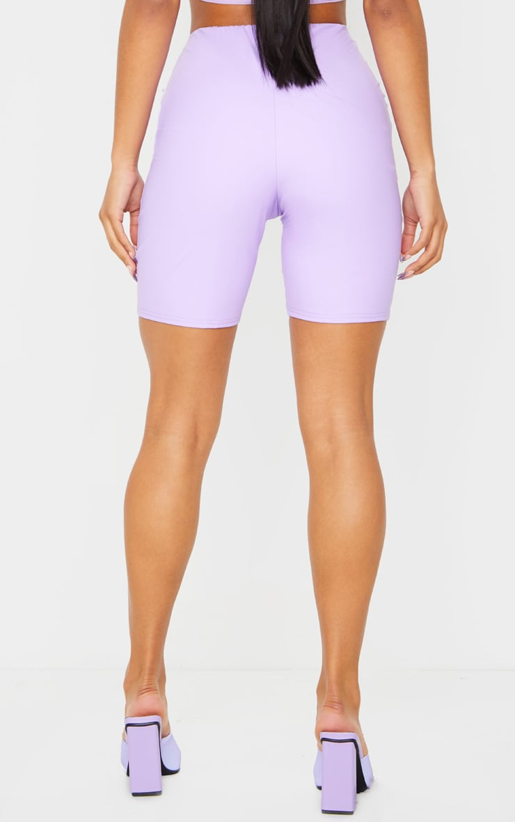 Lilac Faux Leather Bike Shorts 3