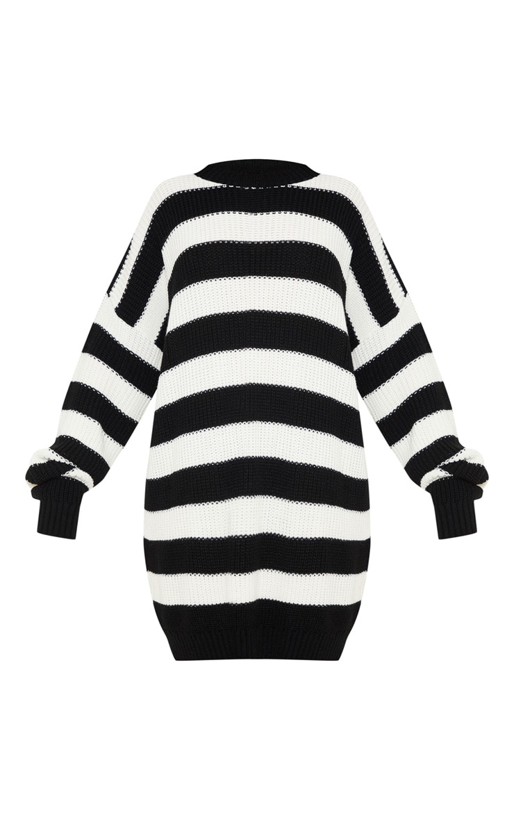 Monochrome Striped Knitted Jumper  3