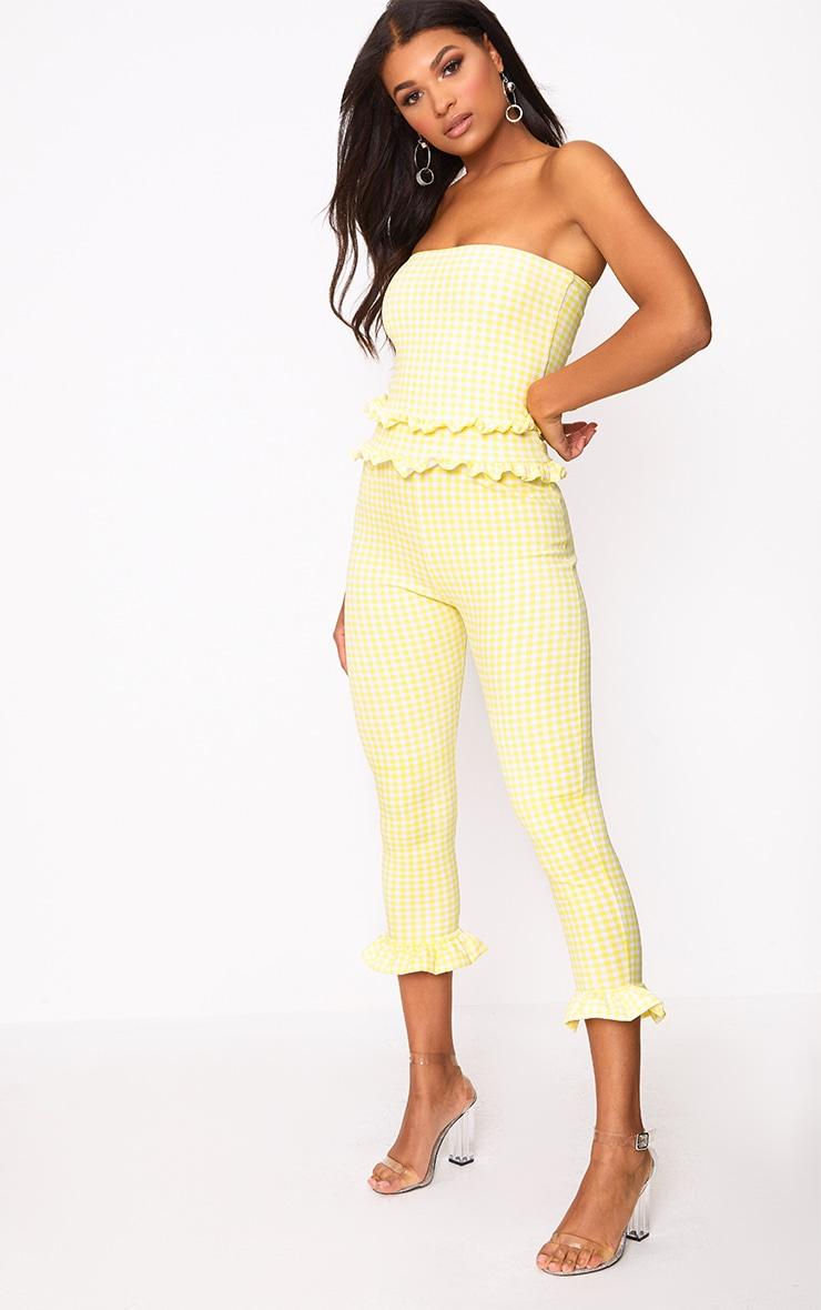 Lemon Gingham Frill Hem Bandeau Jumpsuit 1