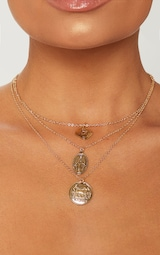 7f34ae2806a20 Gold Renaissance Triple Layered Coin Pendant Necklace