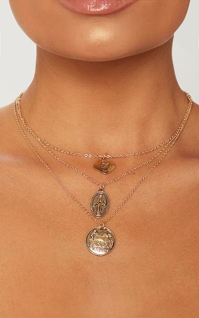 Gold Renaissance Triple Layered Coin Pendant Necklace