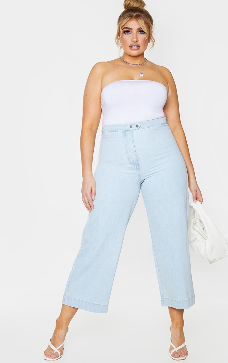 Plus Light Blue Washed Denim Culottes Prettylittlething Usa