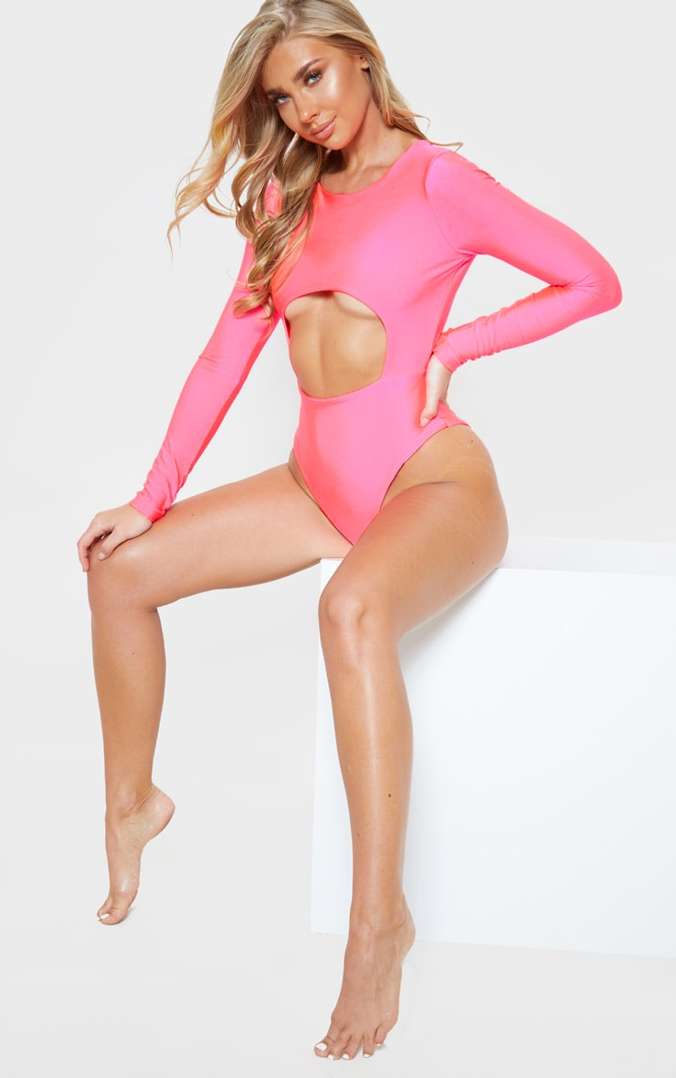 Neon Pink Long Sleeve Underbust Cut Out Swimsuit 1