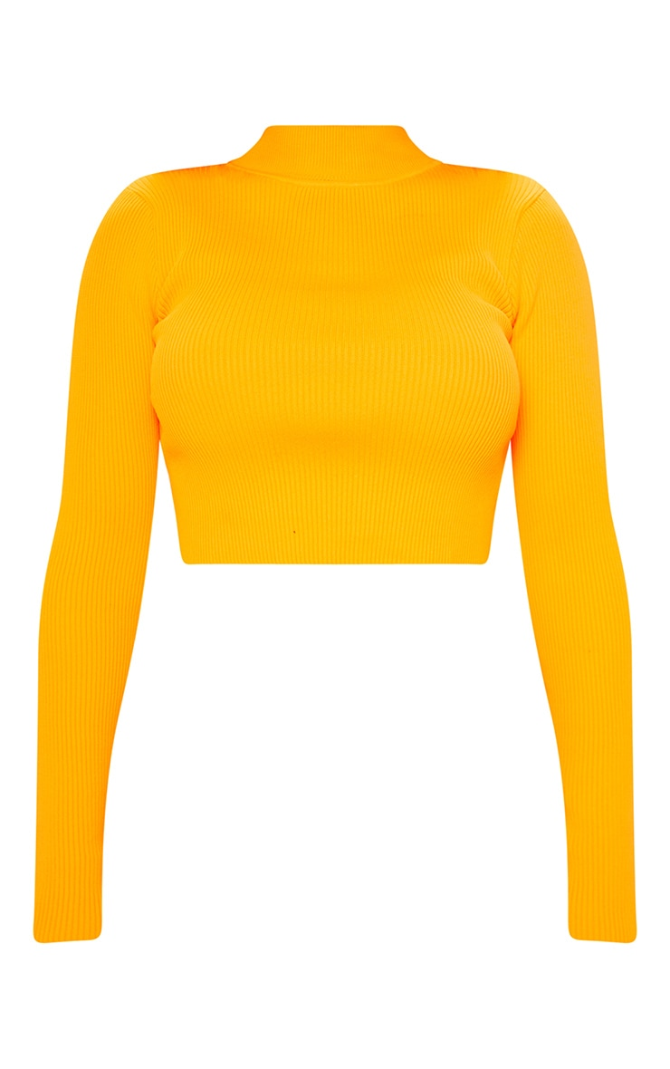 Shape Neon Orange Knit Long Sleeve Crop Top  3