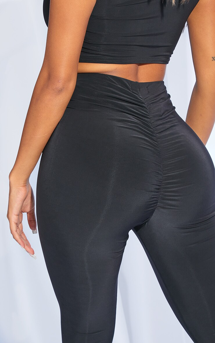 Shape Black Slinky Ruched Bum Leggings 4