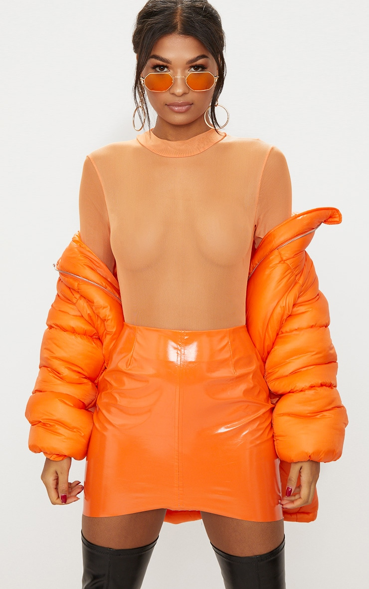 Tangerine Mesh Turtle Neck Longsleeve Thong Bodysuit 1