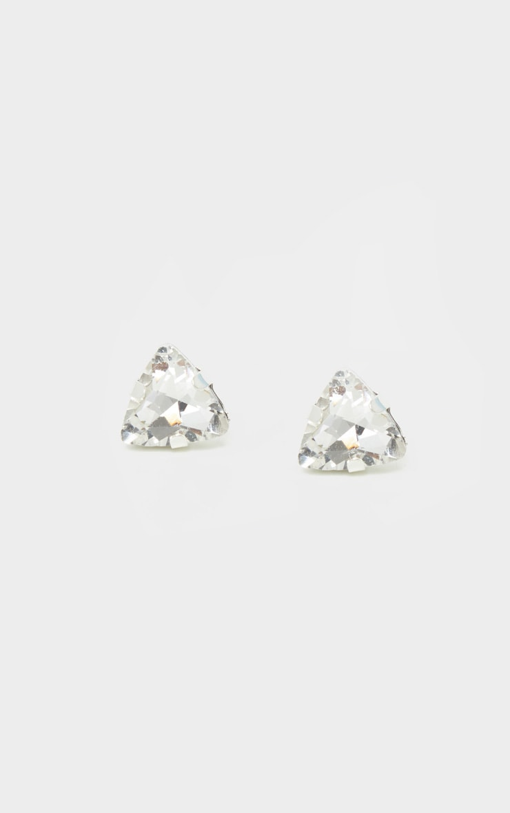 Silver Crystal Effect Stud Earrings 2