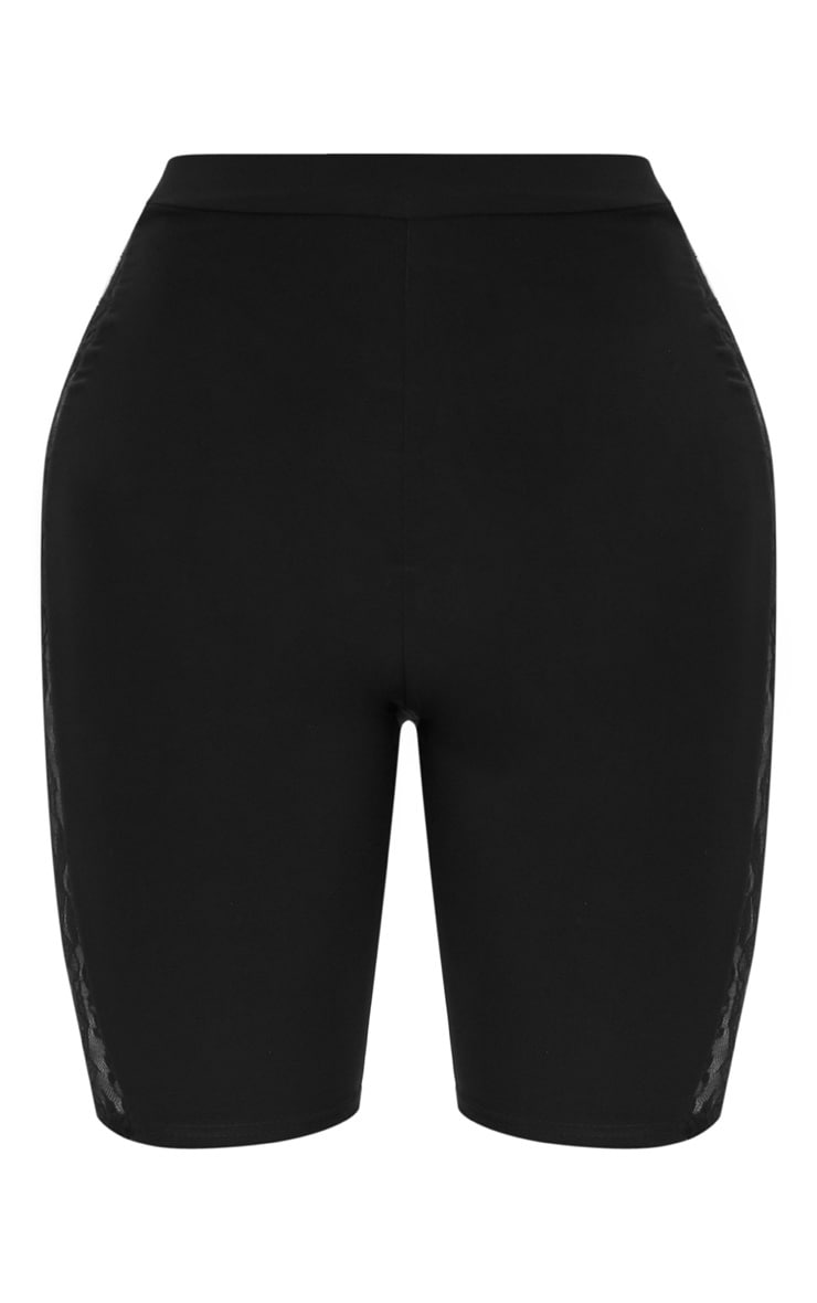 Shape Black Slinky Lace Panel Cycling Shorts 3