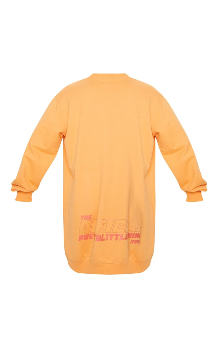 PRETTYLITTLETHING Orange Official Slogan Back Print Long Sleeve Jumper Dress 6