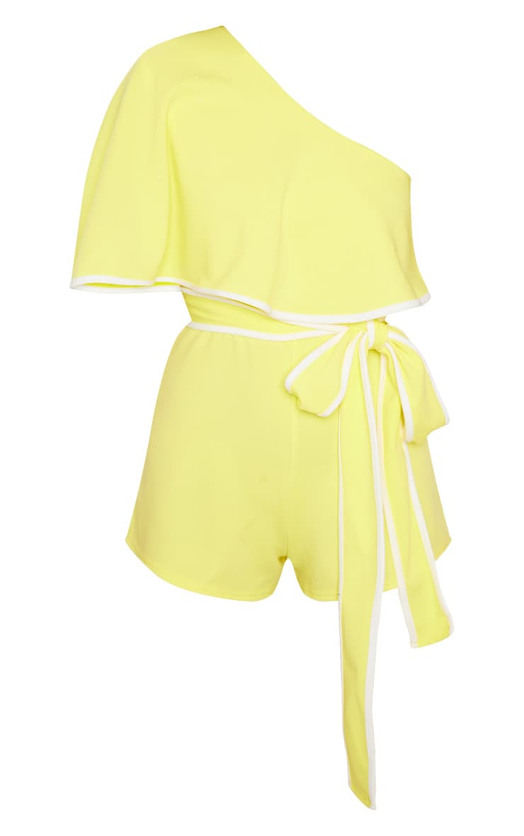 Yellow Contrast One Shoulder Romper 3