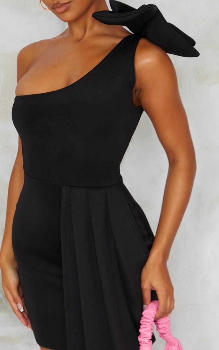 Black Bonded Scuba Bow Shoulder Ruffle Bodycon Dress 4