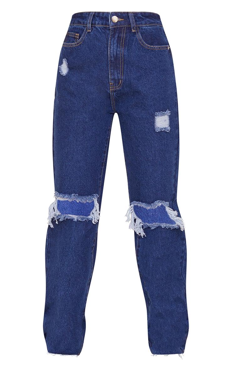 PRETTYLITTLETHING Petite Indigo Wash Distressed Long Leg Straight Jeans 5