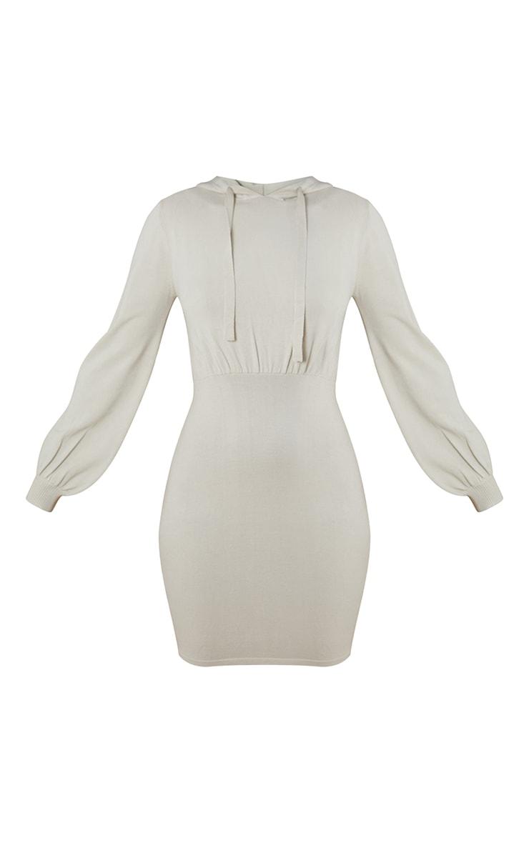 Oatmeal Hooded Knitted Mini Dress 5