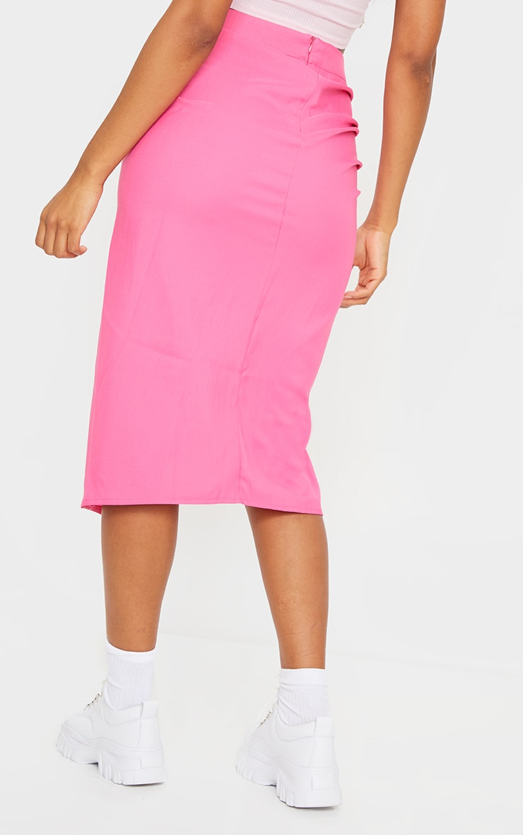 Candy Pink Woven Ruched Detail Midi Skirt 3