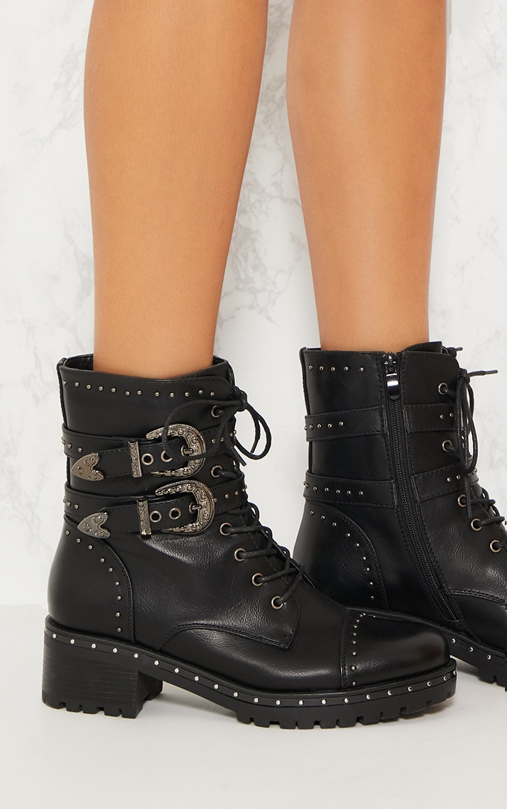 Black Buckle Side Studded Biker Boot 4